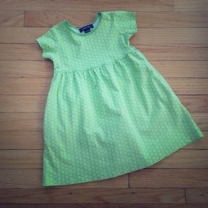 2T Land's End Lime Green & Pink print cotton dress